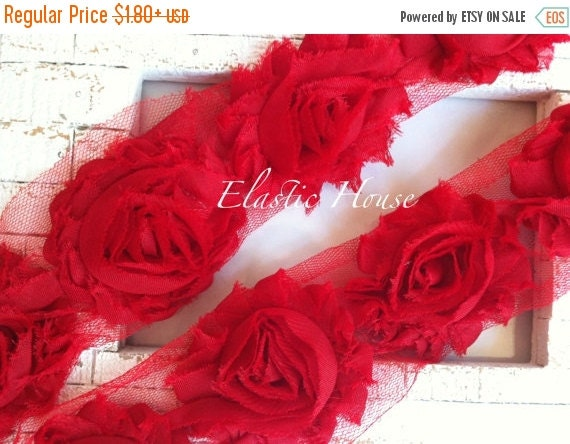"Fall Sale 10% OFF 2.5"" Yard Shabby Rose Trim- Red Color- Red Shabby Rose Trim - Red Shabby Flowers - Hair Accessories and Craft Supplies"