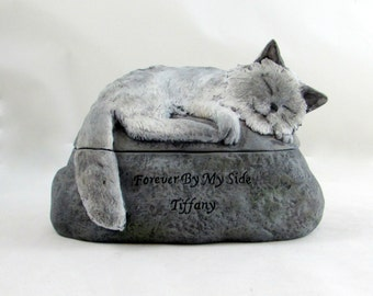 Ceramic Engraved Painted Blue Point Himalayan, long haired Cat Cremation Urn - hand made pet urn