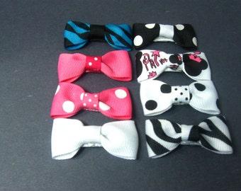 8 pcs Tiny Boutique Hair Bow Alligator Clip Barrettes Girl Toddler Kids