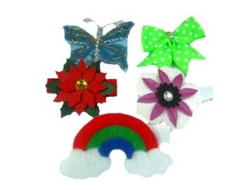 Kids Hair Clips, Girl Barrettes, Butterfly Clip Set, Girl Hair Clip