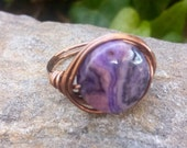 Wire Wrap Ring with Dakota Stones Purple Crazy Lace Agate and Copper Wire