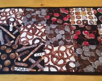 Chocolate Table Runner, Fat Free Chocolate, Guilt Free Candy, Chocolate Lover Home Decor, Valentine's Day Table Linens, Whimsical Home Decor