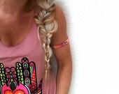 Ethnic Upper Arm Bracelet in Warm Pastels.