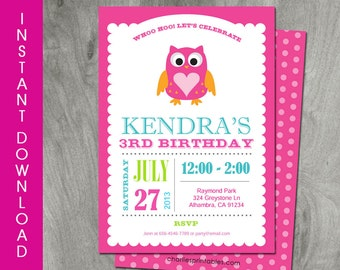 Owl Invitation, Self Editable, INSTANT DOWNLOAD, Diy Party Printable, Birthday Invitation, Baby Shower, Personalized, Pink, Digital Pdf file