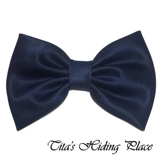 Navy Hair Bow, Satin Hair Bow Clip, Bows For Women, Kawaii Bows, Handmade Bow, Satin Fabric Bow, Lolita, Big Bow, Baby Girl Bow, 008