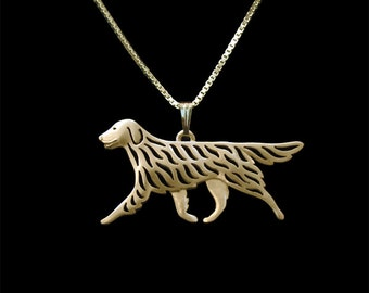 Flat-Coated Retriever - Gold pendant and necklace.
