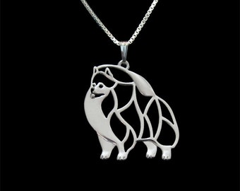 Pomeranian jewelry - sterling silver pendant and necklace