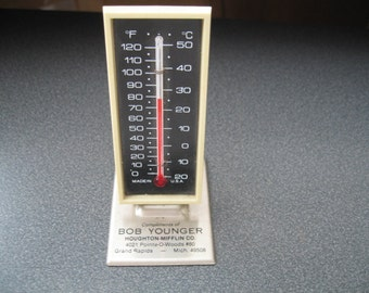 Vintage Table Top Advertising Thermometer, Farenheit & Celsius