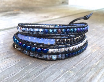 Beaded Leather Wrap Bracelet 4 Wrap with Blue Black and Silver Czech Glass Beads on Genuine Black Leather