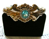 1940's Retro Modern Flexible Gold Filled Scroll Bracelet  Aqua and Clear  Rhinestones