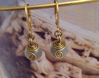 Labradorite earrings, wire wrapped brass earrings,bridesmaid earrings boho wedding spiral earrings, viking earrings, labradorite jewelry