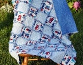 34 by 37 Rag quilt with cars & trains