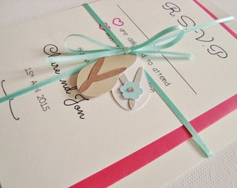 Personalised Handmade Flip Flops Beach Themed Ribbon Tied Wedding Invitation and RSVP Sample