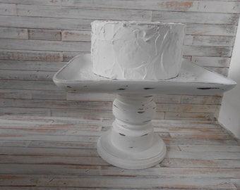 White Cake Stand - Wood Pedestal Stand -Farmhouse Wood Server- Dessert Stand - Wood Cake Stand -One of a Kind Cake Stand- Serving Stand