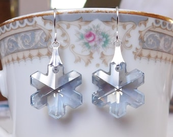 Swarovski Snowflake Earrings , Crystal Snowflake , Silver Snowflake Jewelry , Christmas Earrings