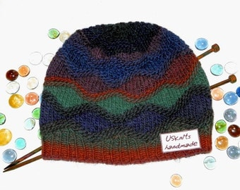 Knit beanie, knitted hat, multicolored knitted beanie, beanie with pompom, beanie with pompon, winter beanie, wool beanie, scully