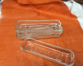 Crate & Barrel Corn Dishes Pressed Glass mid century