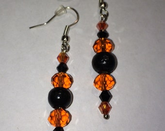 Orange & Black Glass Beaded Dangle Earrings