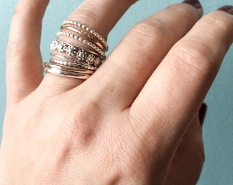 Stackable Ring in Sterling silver and Gold