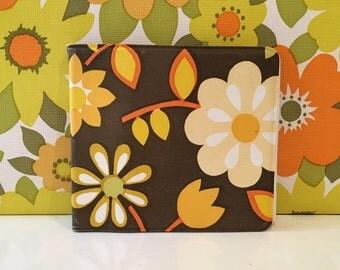 Vintage Needle Case Retro Orange and Brown Floral