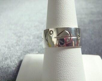 Sterling Silver Sagittarius Zodiac Band Ring Sz 8 1/4 R226