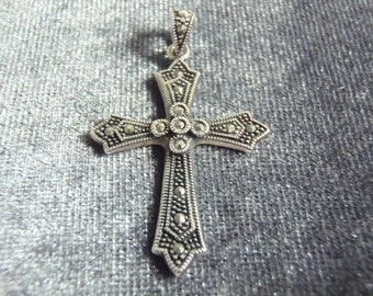 Sterling Silver Marcasite Cross Pendant P133