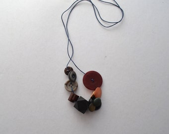 Hand made Vintage Button and Bead Tactile Necklace