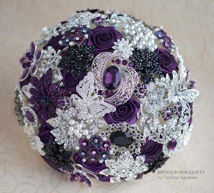 Brooch Bouquet Purple Black Ivory And Silver Wedding Brooch