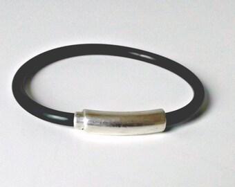 Rubber bracelet, black bracelet, bracelet for men, mens bracelet, mens jewelry, men bracelet, mens gift, gift for him, gift for men