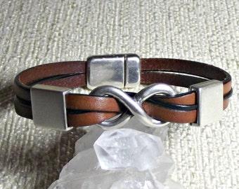 Infinity leather bracelet, infinity bracelet, eternity bracelet, friend gift, friendship bracelet, gift for her, gift for him