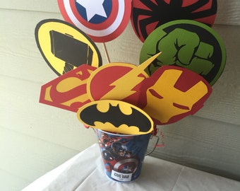 Superhero centerpiece sticks