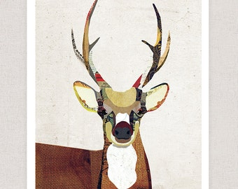 Deer Art Print - Collage Poster Print