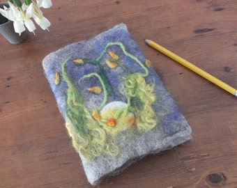 Cute Decorated Wet Felted Small A6 Fairy Art Diary / Notebook of Organic Grey Wool and Colorful Spring Flowers.