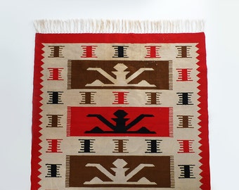 Vintage Handwoven Wool Carpet Bohemian Tribal Rug