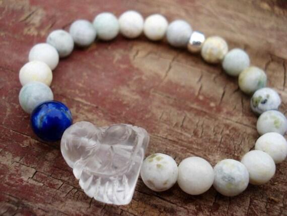 Quartz Crystal Buddha Bracelet, Lapis Lazuli Bracelet, White Beaded Bracelet, Jade Bracelet, Yoga Bracelet, Meditation Jewelry, Religious