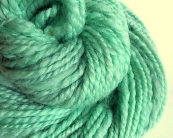 Handspun yarn, chunky mint green / turquoise wool, blue faced leicester yarn, knitting yarn / wool, thick bulky yarn