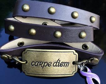 Lavender Ribbon Bracelet - Cancer Awareness / Epilepsy - Light Purple Ribbon, Rett Syndrome - Carpe Diem Leather Wrap