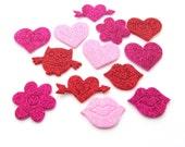 Hearts, 208 Pieces Foam Valentine Hearts, Glitter, LOT DESTASH, pink, red, hot pink trim