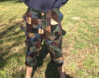 Patchwork gypsy long shorts/short pants OOAK handmade river pirate swashbuckler rogue gypsy