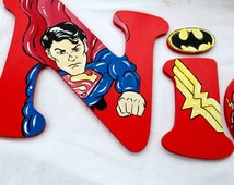 Super Hero Painted Letters, Superman Comic Nursery Letters, Super Hero Kids Room Decor, Alphabet Letters, Super Hero Photo Prop Letters