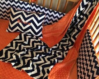 4 pc Chevron Crib/Toddler Bed Set