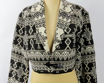 Women's Black & White 90s Southwestern Print Cropped Jacket Size M