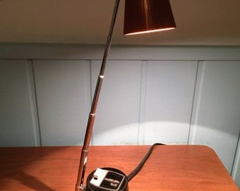 Portable ATOMIC era DESK LAMP by Mobilite, inc.  chrome and hard plastic telescoping 1960s works