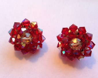 Sparkly Red Crystal Bead Clipons