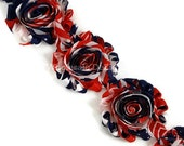 Fourth of July Red White Blue - Shabby Chic Chiffon Flowers - 1/2 Half or 1 Yard Wholesale Rosettes 4th of July