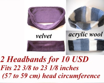 clearance sale, set of 2 headbands for adult or children, fit 22 3/8 to 23 1/8 inches (57 - 59 cm) head circumference