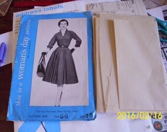 1950s Lovely Shirtwaist Dress Pattern Woman's Day 5085 Day or Evening Dress