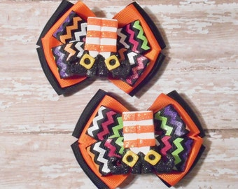 Witch Feet Inspired Glitter Orange and Balck Ribbon Piggie Bows