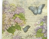 Decoupge Flower Paper Napkins  PASTEL HYDRANGEAS and Blue BUTTERFLY With Script  5pcs Five Beverage size paper napkin for crafts