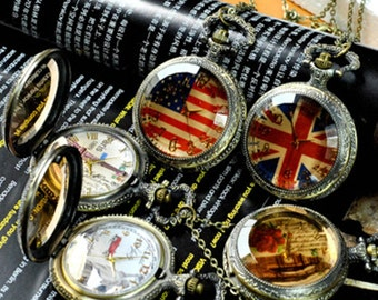 5pcs 48mmx48mm Bronze Flower Glass Cover pocket watch charms pendant